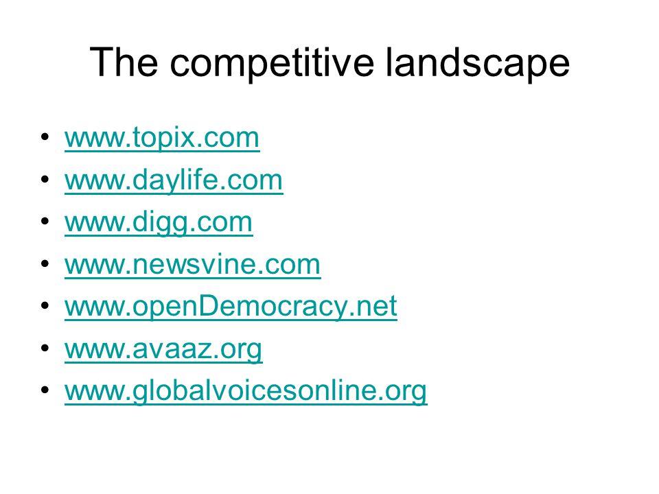The competitive landscape www.topix.com www.daylife.com www.digg.com www.newsvine.com www.openDemocracy.net www.avaaz.org www.globalvoicesonline.org