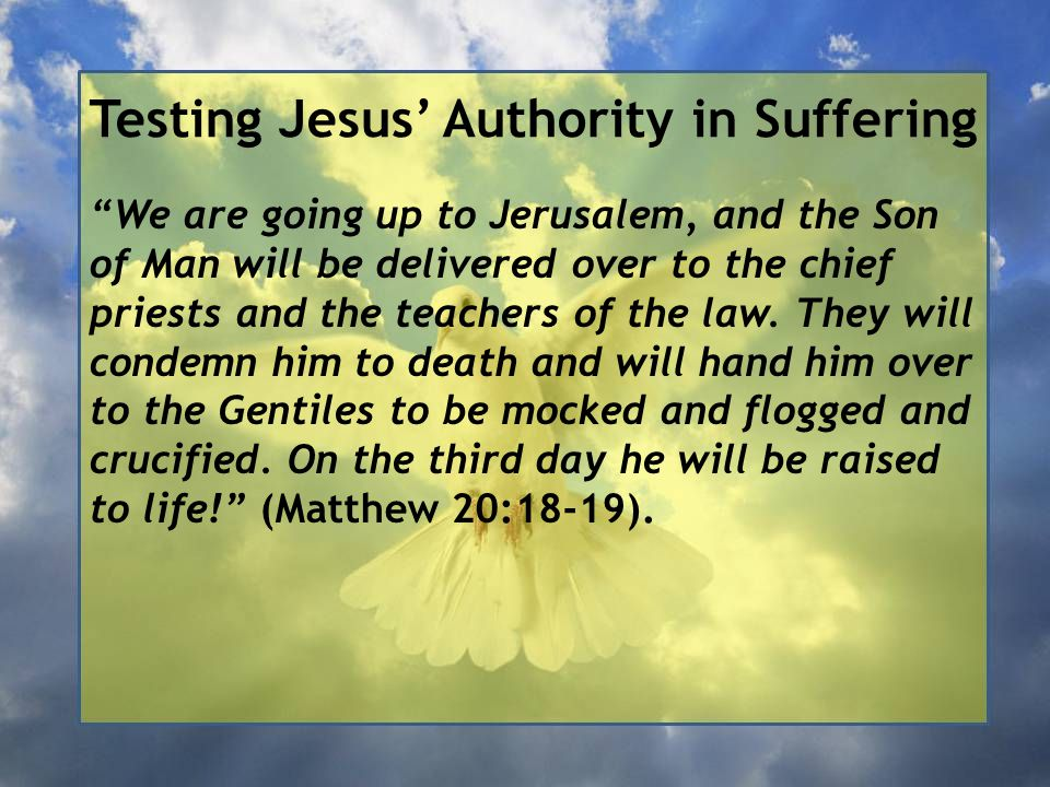 Testing Jesus' Authority in Suffering We are going up to Jerusalem, and the Son of Man will be delivered over to the chief priests and the teachers of the law.