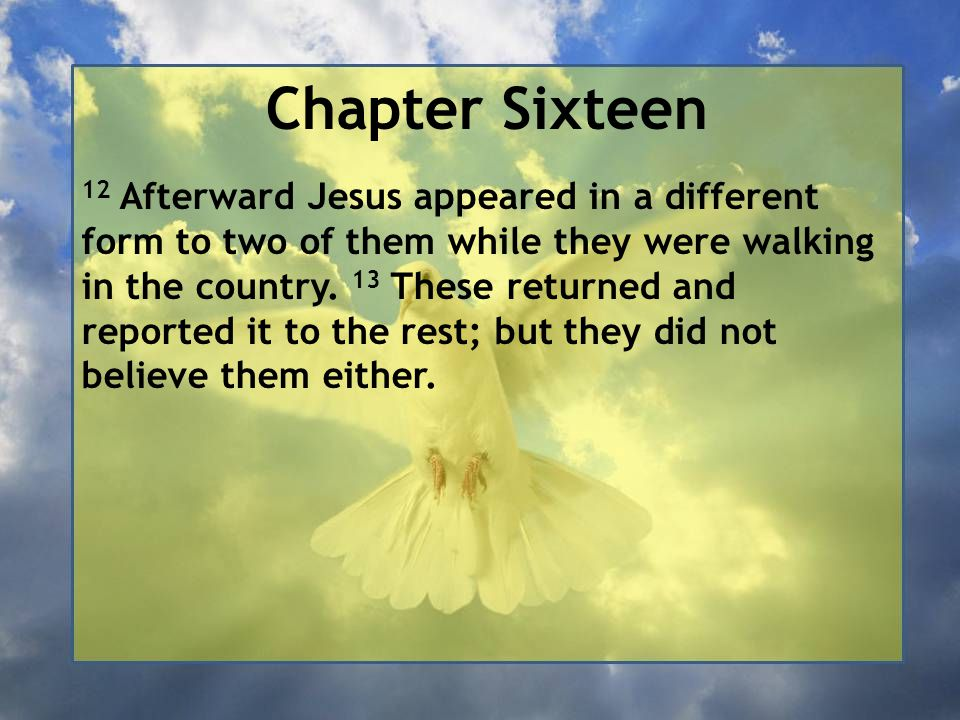 Chapter Sixteen 12 Afterward Jesus appeared in a different form to two of them while they were walking in the country.