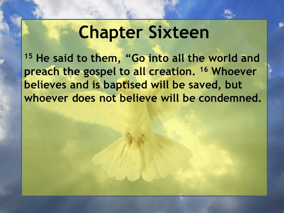 """Chapter Sixteen 15 He said to them, """"Go into all the world and preach the gospel to all creation. 16 Whoever believes and is baptised will be saved, b"""