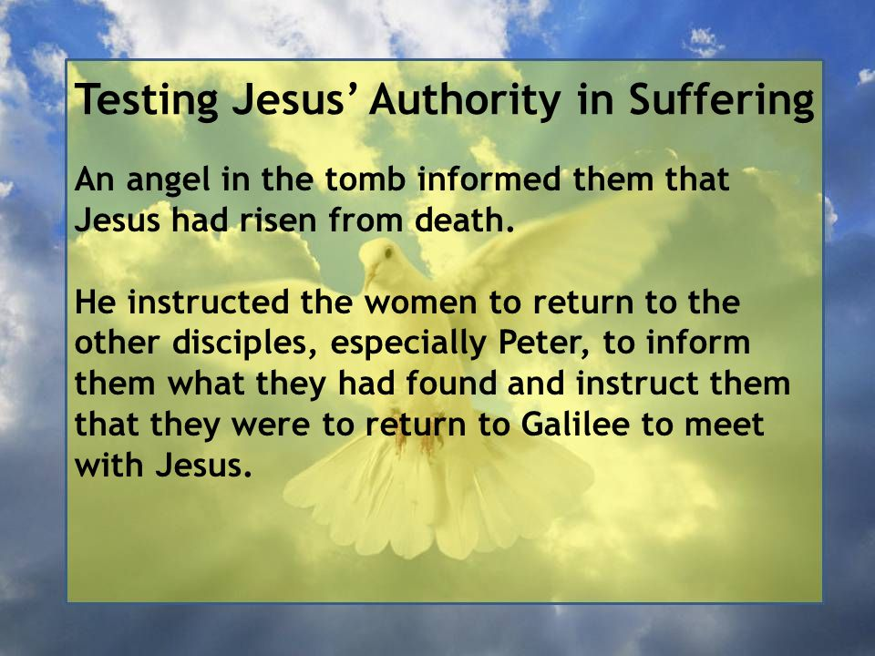 Testing Jesus' Authority in Suffering An angel in the tomb informed them that Jesus had risen from death. He instructed the women to return to the oth