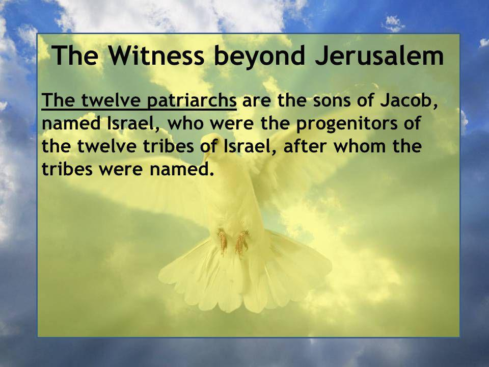 The Witness beyond Jerusalem The twelve patriarchs are the sons of Jacob, named Israel, who were the progenitors of the twelve tribes of Israel, after whom the tribes were named.