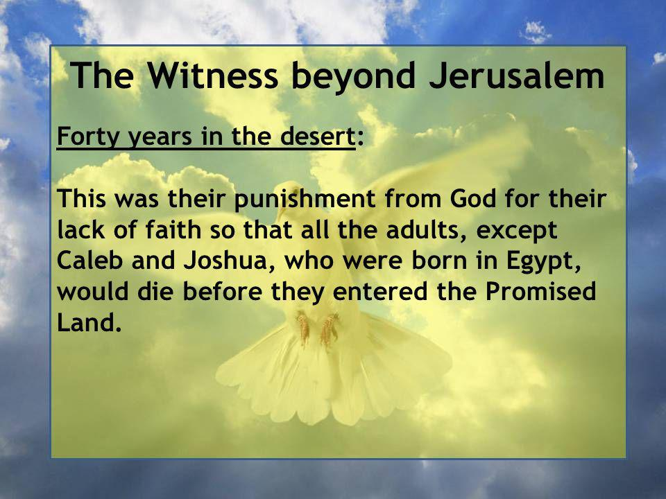 The Witness beyond Jerusalem Forty years in the desert: This was their punishment from God for their lack of faith so that all the adults, except Caleb and Joshua, who were born in Egypt, would die before they entered the Promised Land.