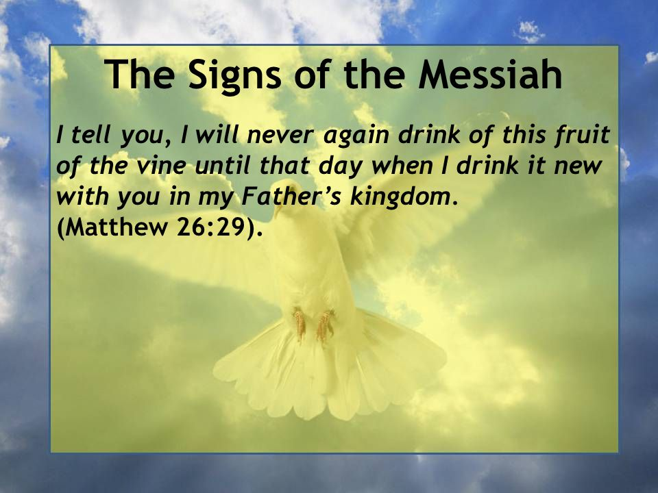 The Signs of the Messiah I tell you, I will never again drink of this fruit of the vine until that day when I drink it new with you in my Father's kingdom.