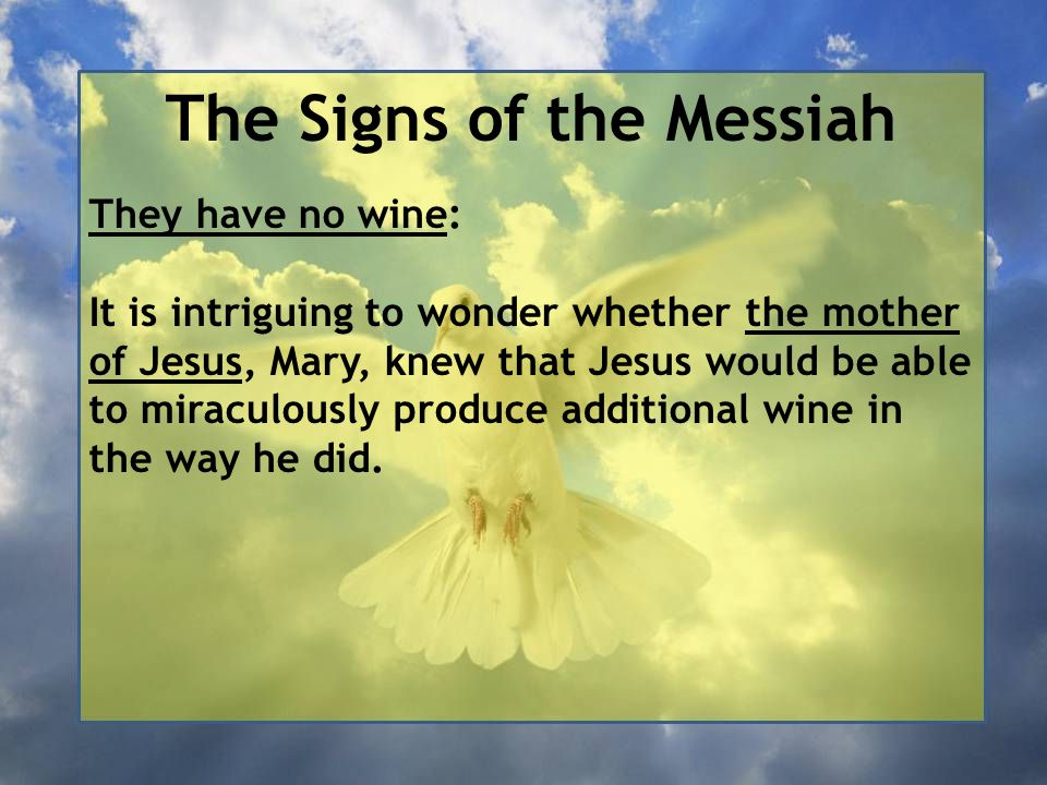 The Signs of the Messiah They have no wine: It is intriguing to wonder whether the mother of Jesus, Mary, knew that Jesus would be able to miraculously produce additional wine in the way he did.