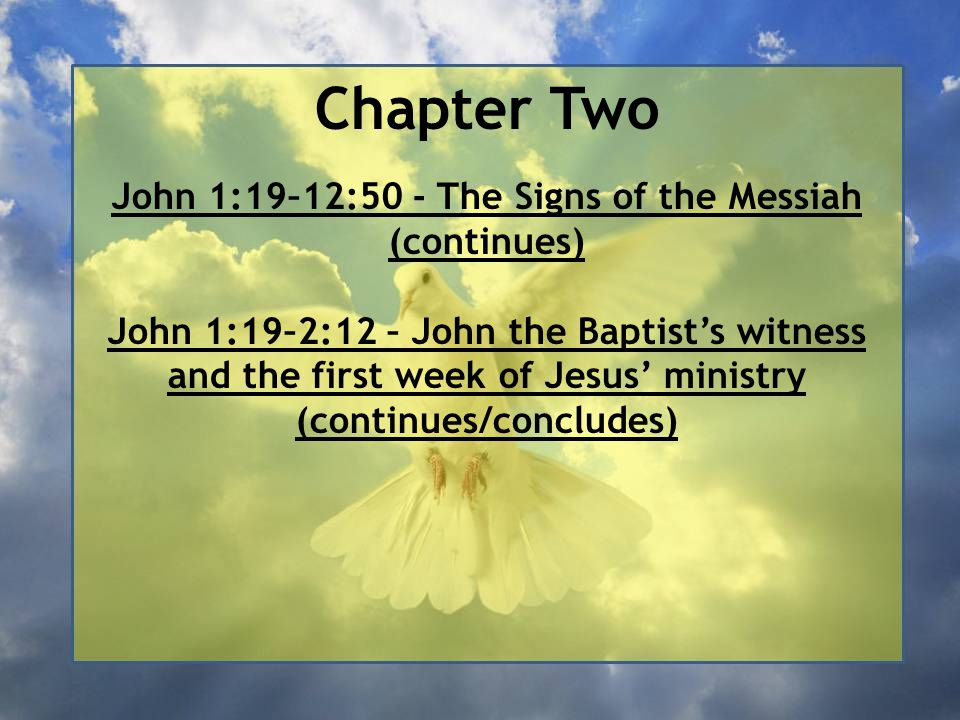 The Signs of the Messiah Summary of Chapter Two This chapter describes two main events: the first miracle Jesus performed and the clearing of the Temple Courts.