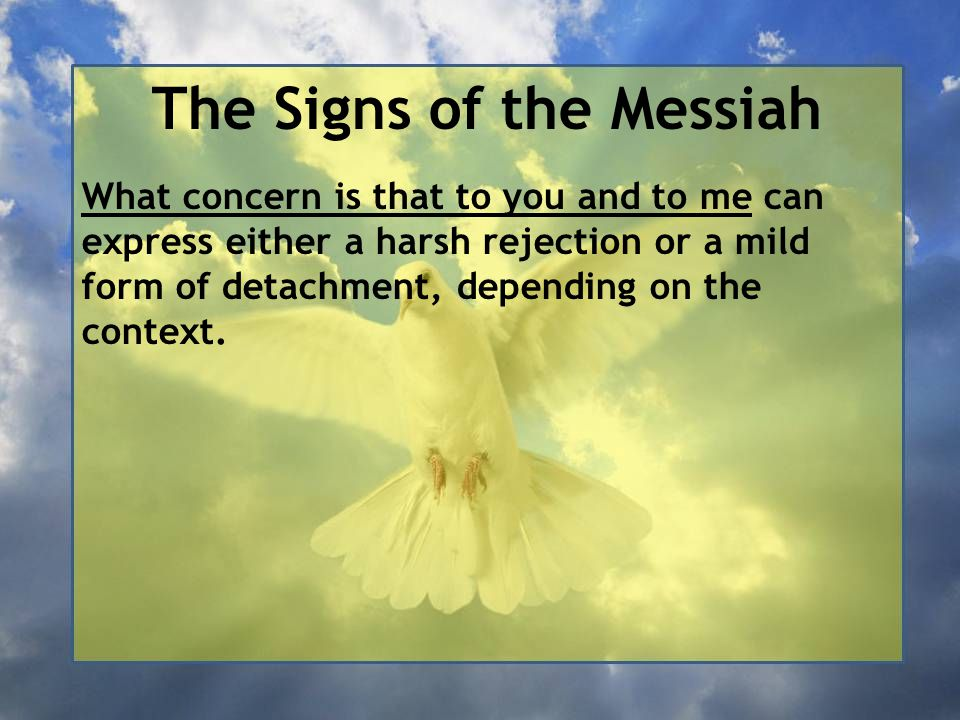 The Signs of the Messiah What concern is that to you and to me can express either a harsh rejection or a mild form of detachment, depending on the context.