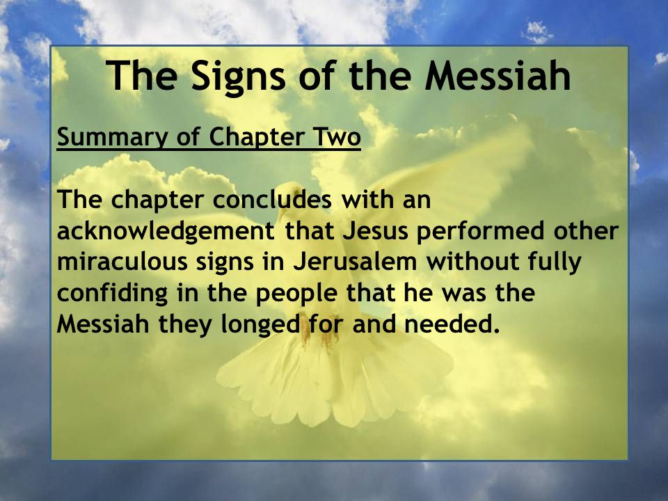 The Signs of the Messiah John 2:1-12 - The Wedding at Cana