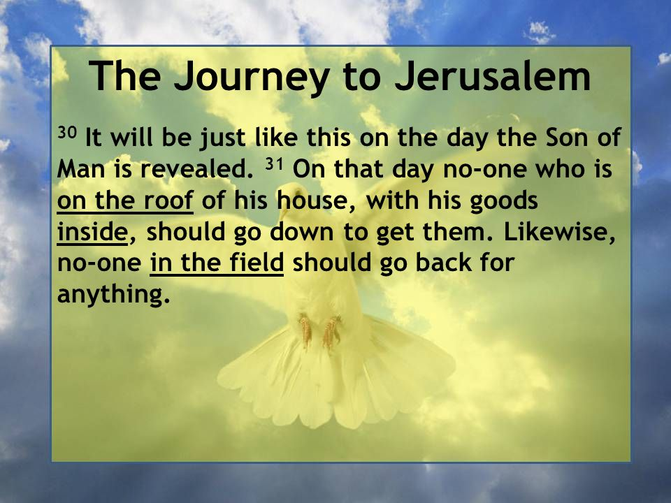 The Journey to Jerusalem 30 It will be just like this on the day the Son of Man is revealed. 31 On that day no-one who is on the roof of his house, wi
