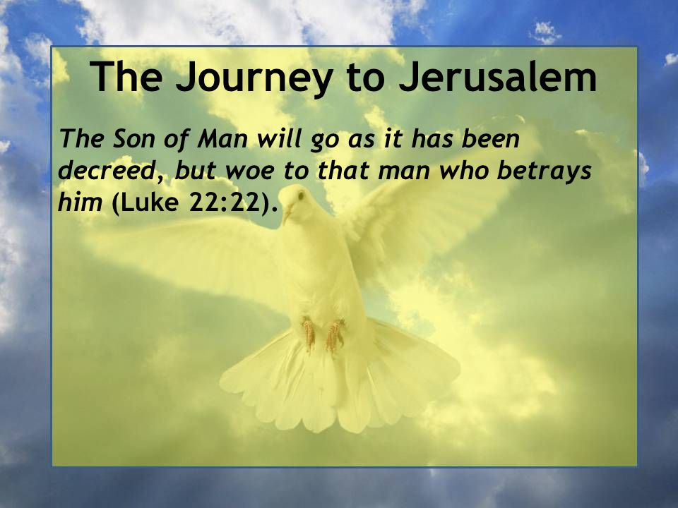 The Journey to Jerusalem The Son of Man will go as it has been decreed, but woe to that man who betrays him (Luke 22:22).