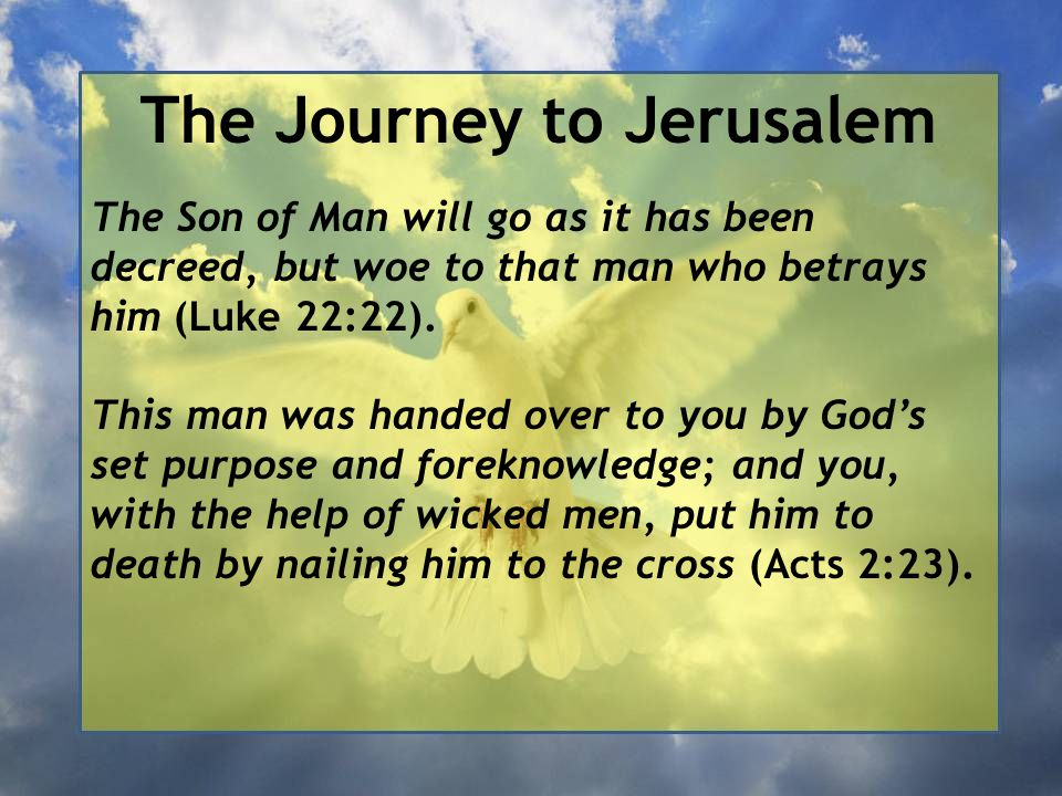 The Journey to Jerusalem The Son of Man will go as it has been decreed, but woe to that man who betrays him (Luke 22:22). This man was handed over to