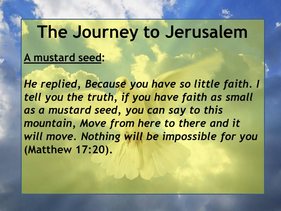 The Journey to Jerusalem A mustard seed: He replied, Because you have so little faith. I tell you the truth, if you have faith as small as a mustard s