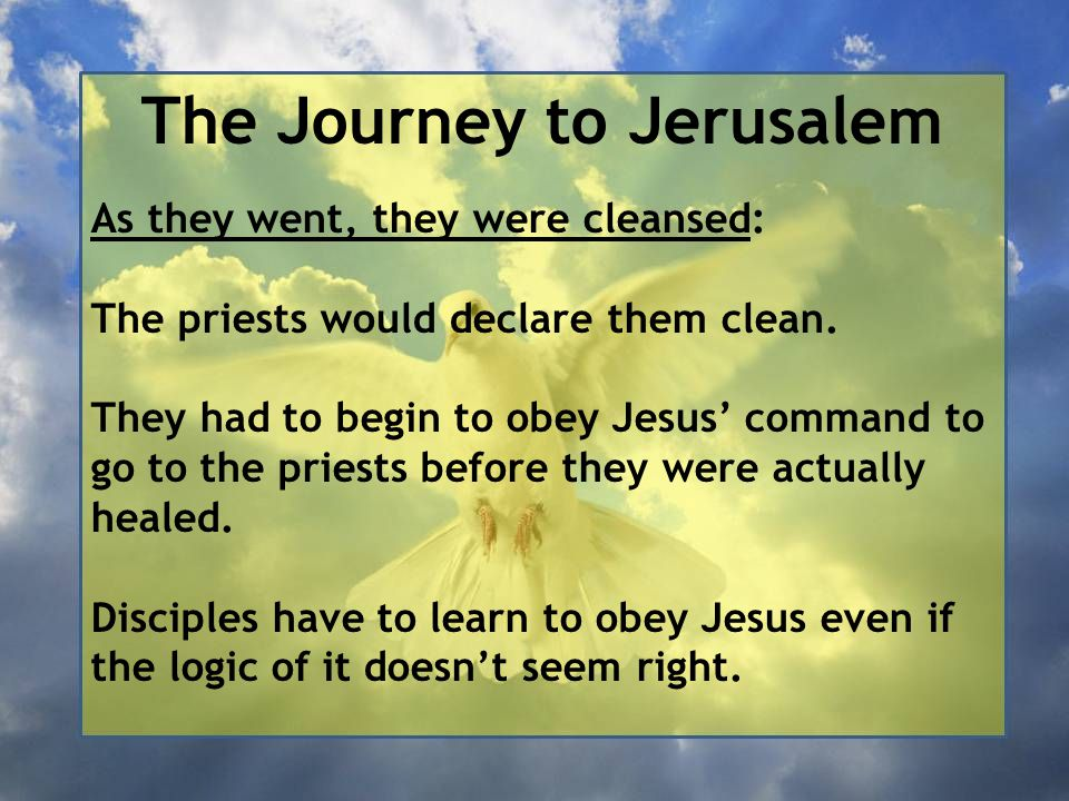 The Journey to Jerusalem As they went, they were cleansed: The priests would declare them clean. They had to begin to obey Jesus' command to go to the