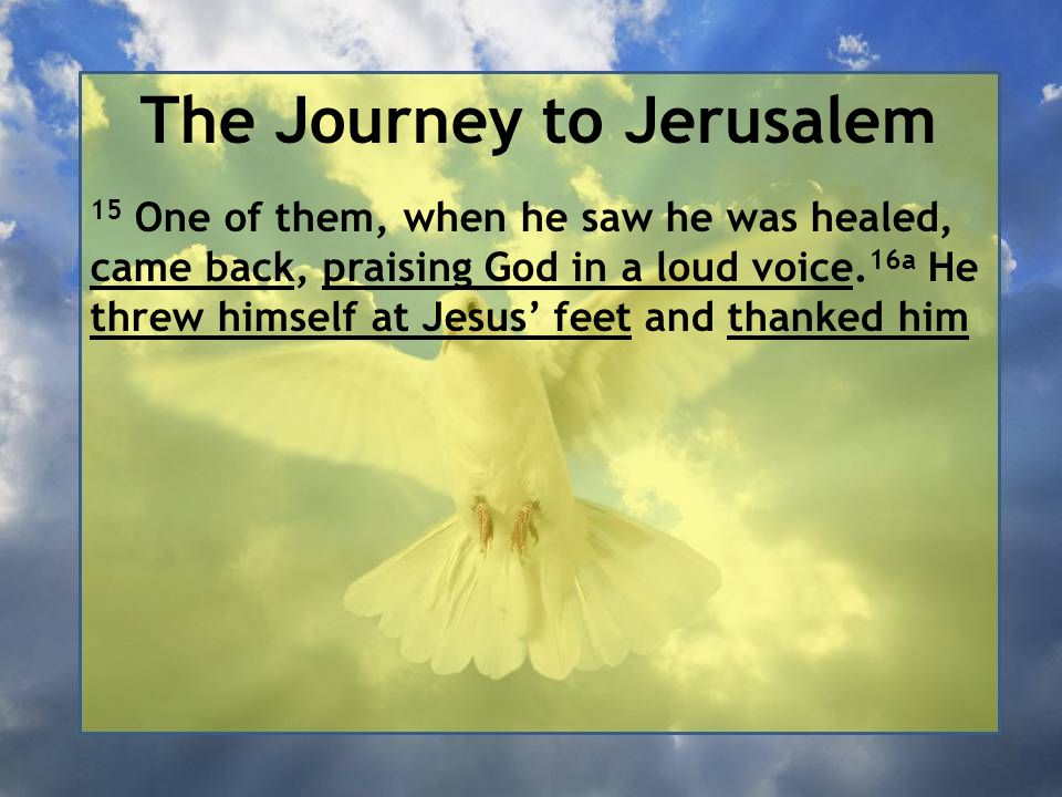 The Journey to Jerusalem 15 One of them, when he saw he was healed, came back, praising God in a loud voice. 16a He threw himself at Jesus' feet and t