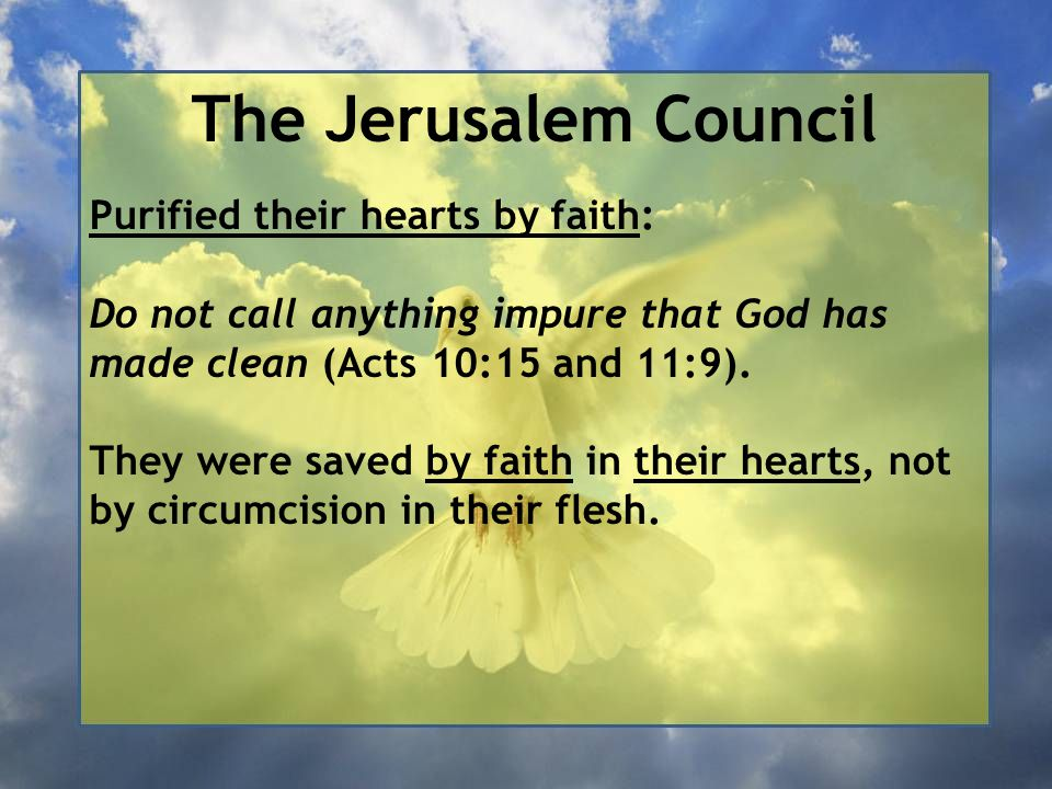 The Jerusalem Council Purified their hearts by faith: Do not call anything impure that God has made clean (Acts 10:15 and 11:9).