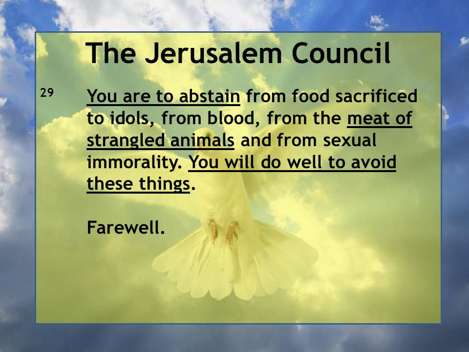 The Jerusalem Council 29 You are to abstain from food sacrificed to idols, from blood, from the meat of strangled animals and from sexual immorality.