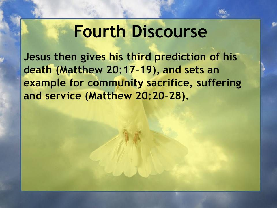Fourth Discourse Moses allowed you to divorce your wives: The Pharisees had asked why Moses commanded divorce (v.7), but Jesus corrected them, showing that divorce is not what God intended from the beginning, and that even when it is allowed, it is permitted only on very specific grounds but never required.