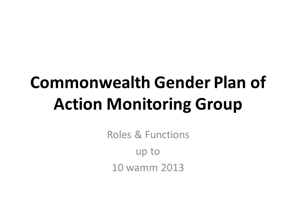 Roles & Functions up to 10 wamm 2013 Commonwealth Gender Plan of Action Monitoring Group