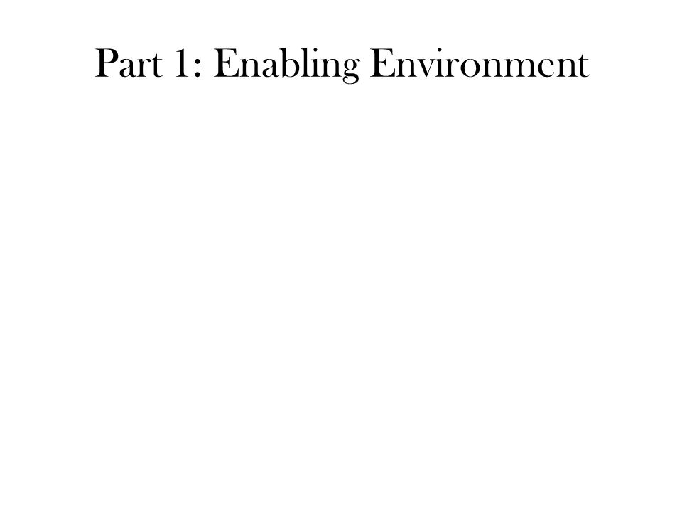 Part 1: Enabling Environment