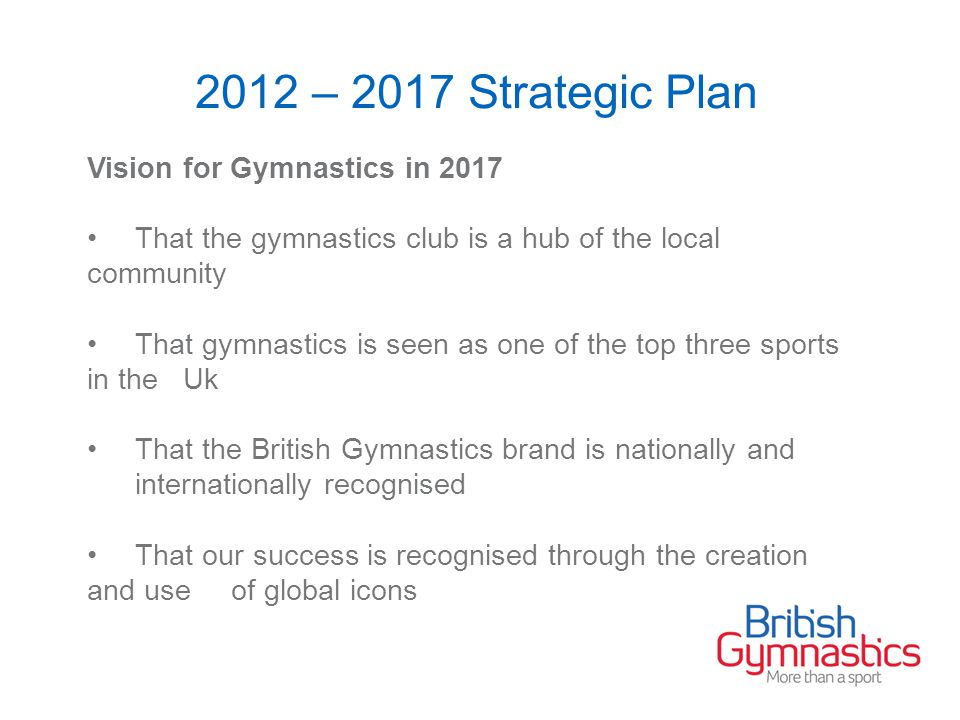 2012 – 2017 Strategic Plan Vision for Gymnastics in 2017 That the gymnastics club is a hub of the local community That gymnastics is seen as one of the top three sports in the Uk That the British Gymnastics brand is nationally and internationally recognised That our success is recognised through the creation and use of global icons