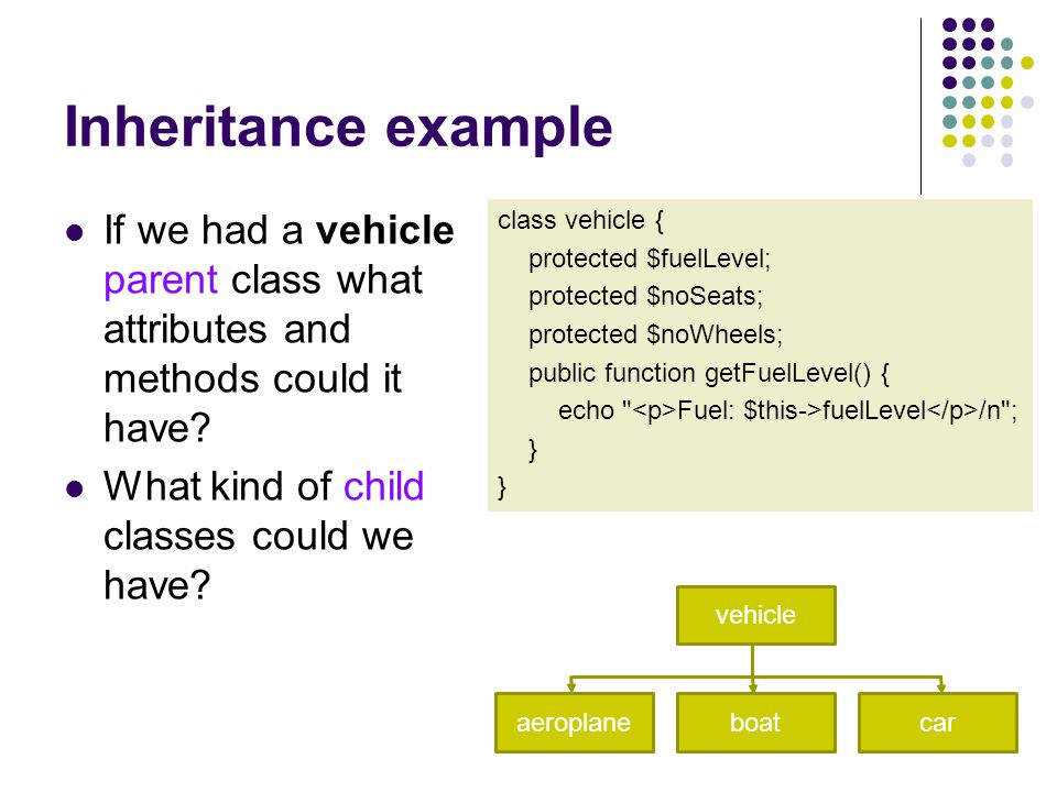 Inheritance – child class ex Creating a child class that inherits all of the functionality of a parent class writing extends means that aeroplane inherits all the functionality of vehicle class vehicle { protected $fuelLevel; protected $noSeats; protected $noWheels; public function getFuelLevel() { // Code to determine and store level echo Fuel: $this->fuelLevel /n ; } } class aeroplane extends vehicle { } $airbus1 = new aeroplane(); $airbus1->getFuelLevel(); Child object of vehicle
