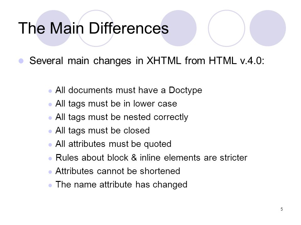 5 The Main Differences Several main changes in XHTML from HTML v.4.0: All documents must have a Doctype All tags must be in lower case All tags must be nested correctly All tags must be closed All attributes must be quoted Rules about block & inline elements are stricter Attributes cannot be shortened The name attribute has changed