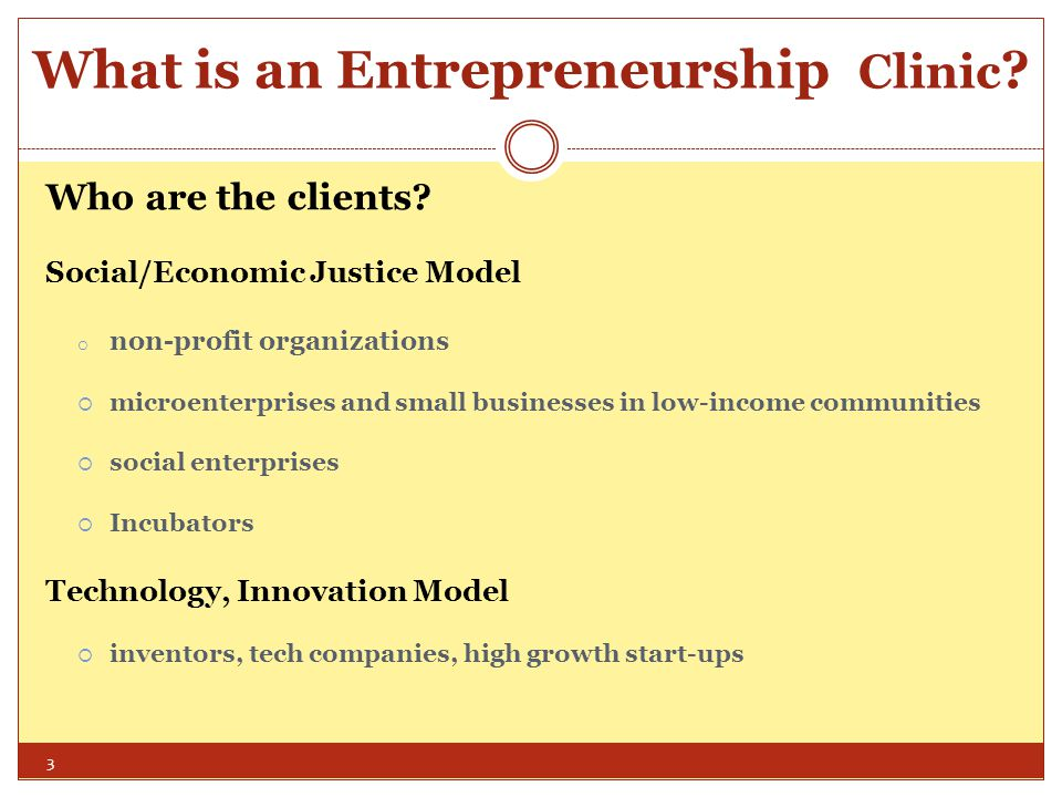 Entrepreneurship Clinics Worldwide iLINC: European Network of Law Incubators  Goal: build European capacity to provide legal advice to ICT (information, communications, technology) start-ups and entrepreneurs  Service Delivery Models  Individual client representation  Workshops  Internet portals (no person-to-person engagement) 24