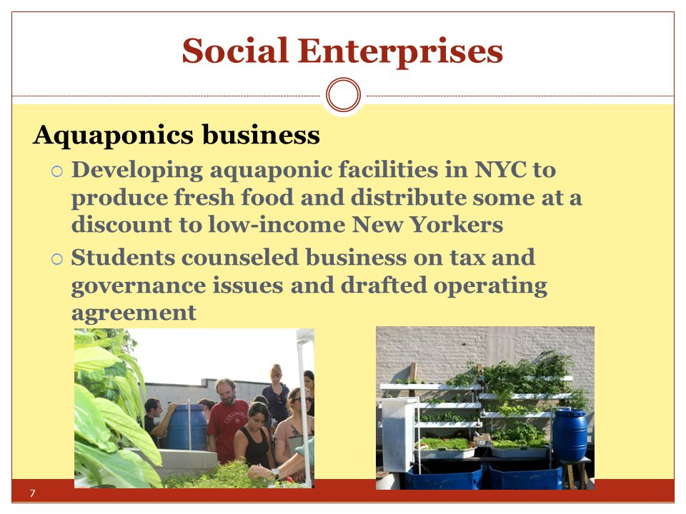 Entrepreneurship Clinics Worldwide Community Enterprise Clinic of Columbia Law School Microenterprises – serve low income communities and are unable to afford market rates for legal services Social Enterprises – organizations interested in both generating income and achieving a social or environmental goal Typical projects for microenterprises and social enterprises: o helping entrepreneurs to choose and form appropriate business structures o drafting or reviewing contracts, leases, financing documents o advising on trademark and copyright issues o complying with regulatory requirements Community Education and Policy Work: Students offer workshops and prepare publications for non-profits and community entrepreneurs on corporate, tax and regulatory issues.