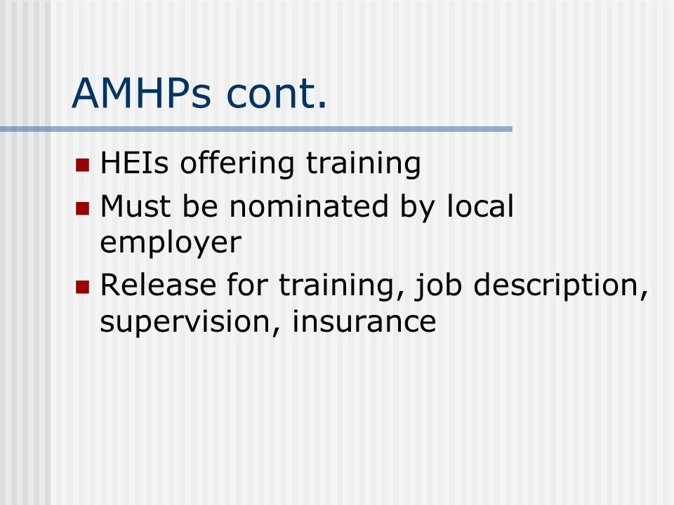 AMHPs cont.