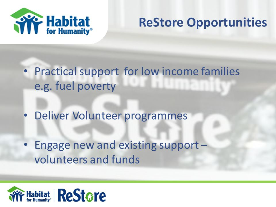 Practical support for low income families e.g.