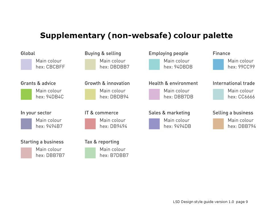 LSD Design style guide version 1.0 page 9 Supplementary (non-websafe) colour palette
