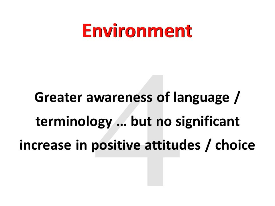 Greater awareness of language / terminology … but no significant increase in positive attitudes / choice Environment