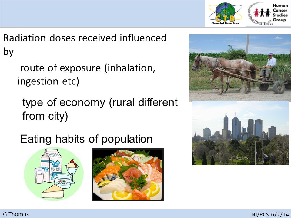 G Thomas NI/RCS 6/2/14 Radiation doses received influenced by route of exposure (inhalation, ingestion etc) type of economy (rural different from city) Eating habits of population