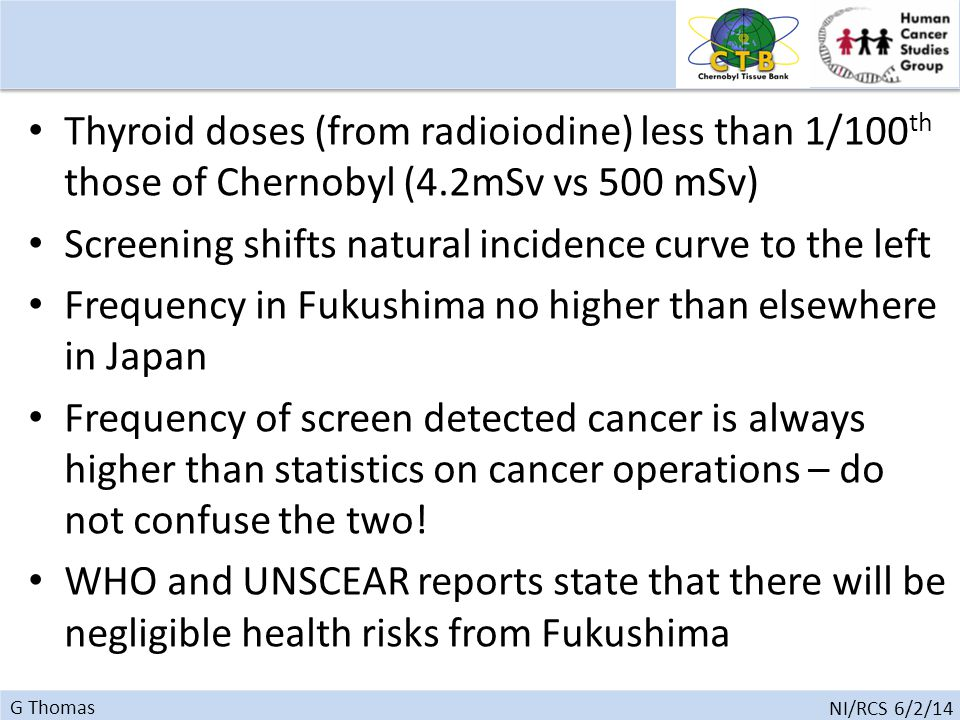 G Thomas NI/RCS 6/2/14 Thyroid doses (from radioiodine) less than 1/100 th those of Chernobyl (4.2mSv vs 500 mSv) Screening shifts natural incidence curve to the left Frequency in Fukushima no higher than elsewhere in Japan Frequency of screen detected cancer is always higher than statistics on cancer operations – do not confuse the two.