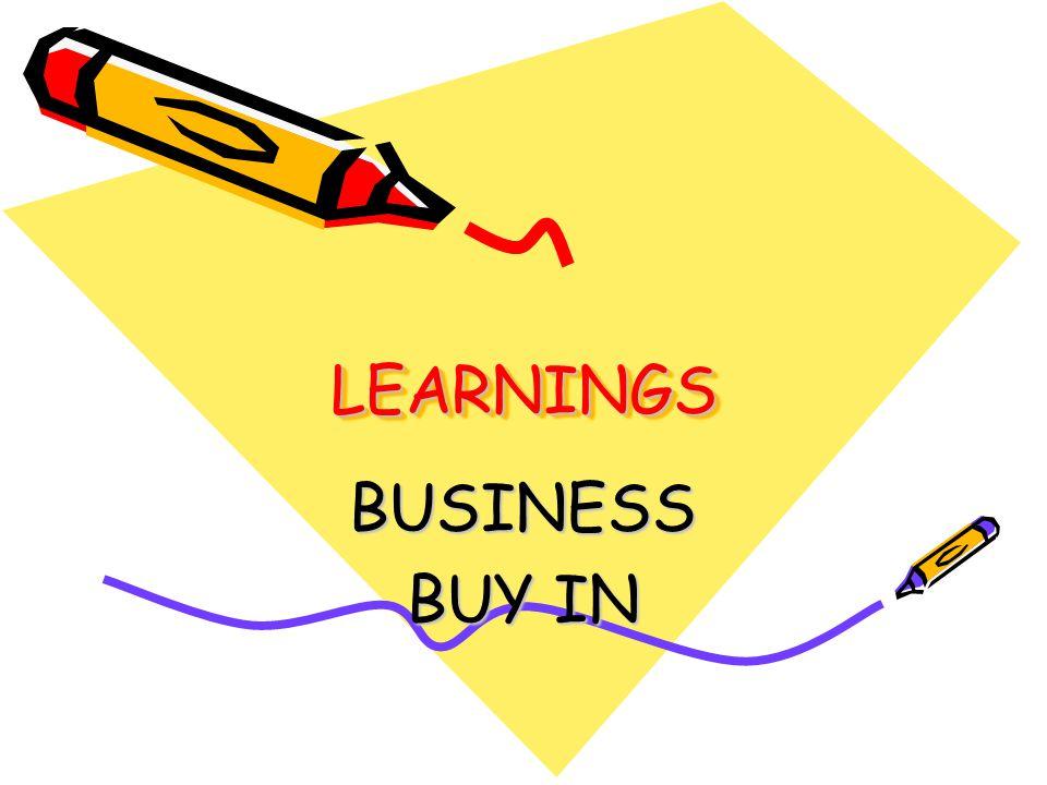 LEARNINGSLEARNINGS BUSINESS BUY IN