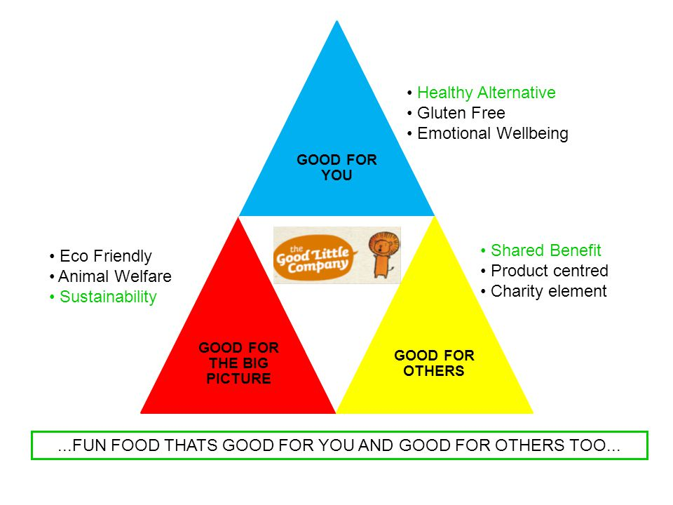 GOOD FOR YOU GOOD FOR THE BIG PICTURE GOOD FOR OTHERS Healthy Alternative Gluten Free Emotional Wellbeing Eco Friendly Animal Welfare Sustainability Shared Benefit Product centred Charity element...FUN FOOD THATS GOOD FOR YOU AND GOOD FOR OTHERS TOO...