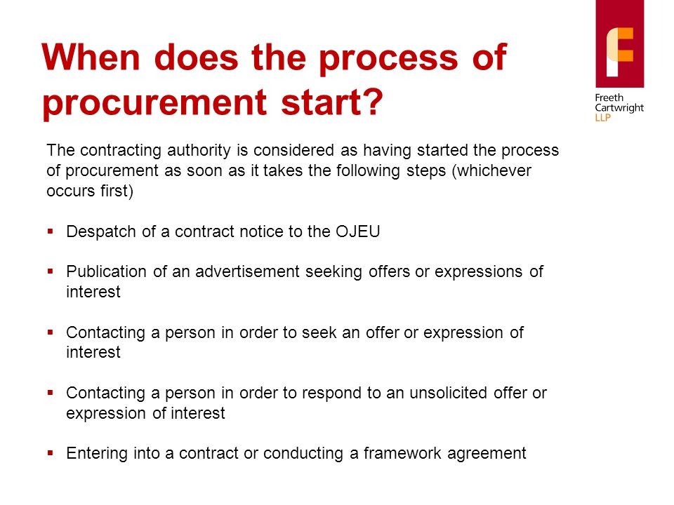 When does the process of procurement start.