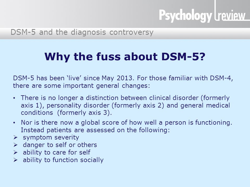 DSM-5 and the diagnosis controversy Why the fuss about DSM-5? DSM-5 has been 'live' since May 2013. For those familiar with DSM-4, there are some impo