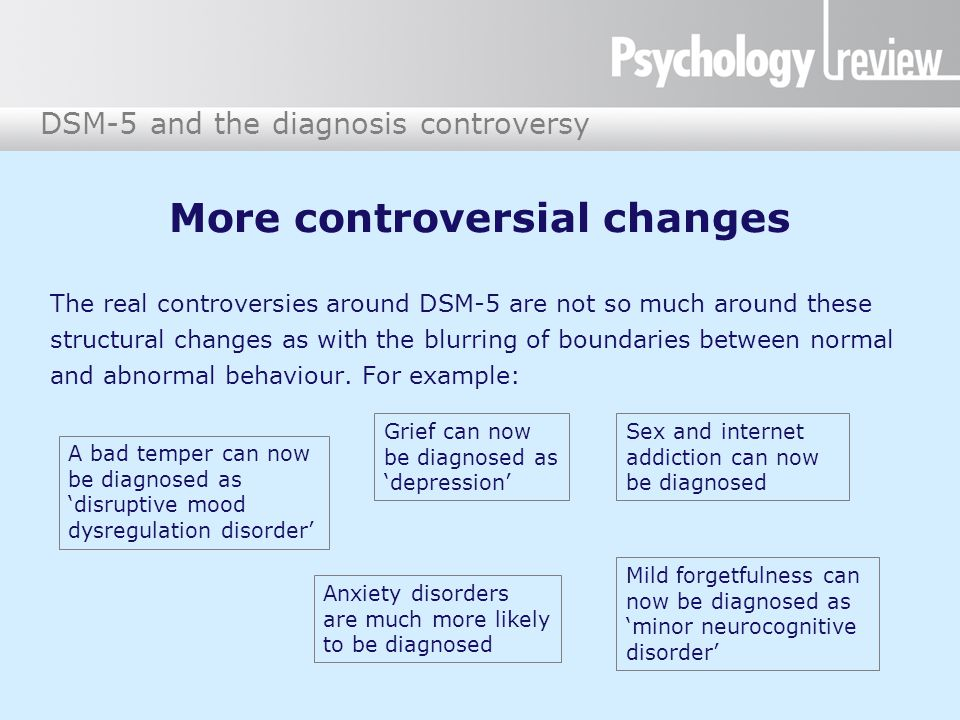 DSM-5 and the diagnosis controversy The real controversies around DSM-5 are not so much around these structural changes as with the blurring of boundaries between normal and abnormal behaviour.