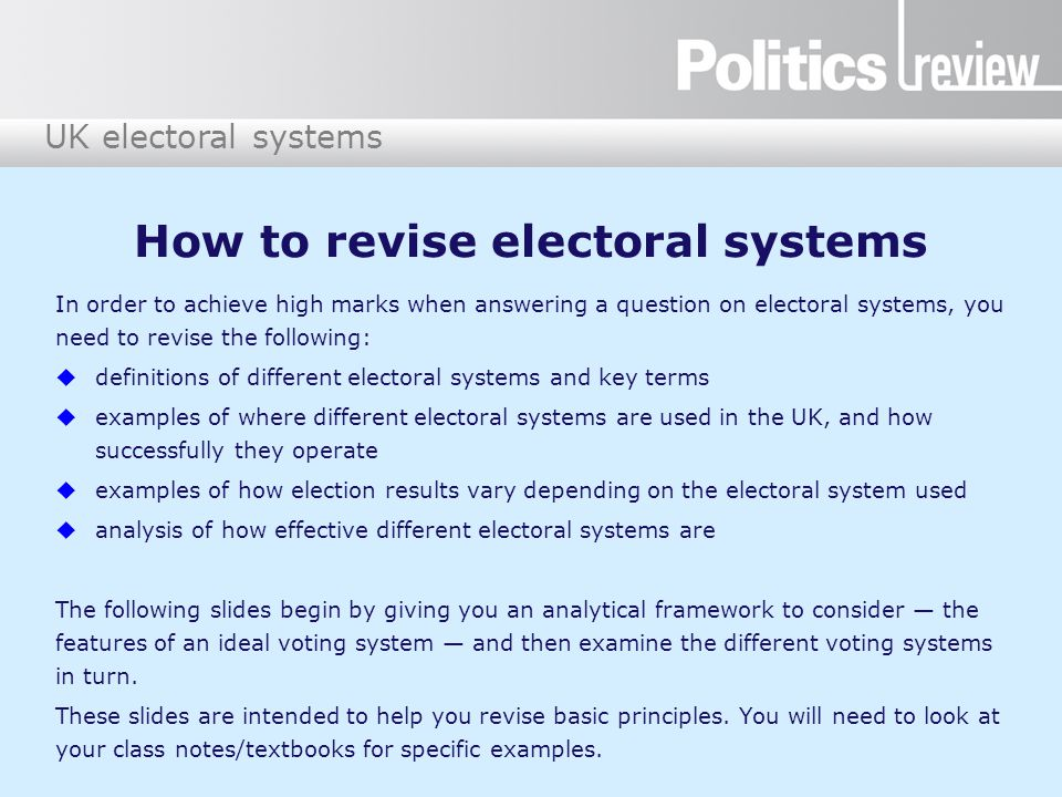 UK electoral systems Ballot paper C Regional member Conservative Party Green Party Labour Party Liberal Democrats UKIP You have two votes.