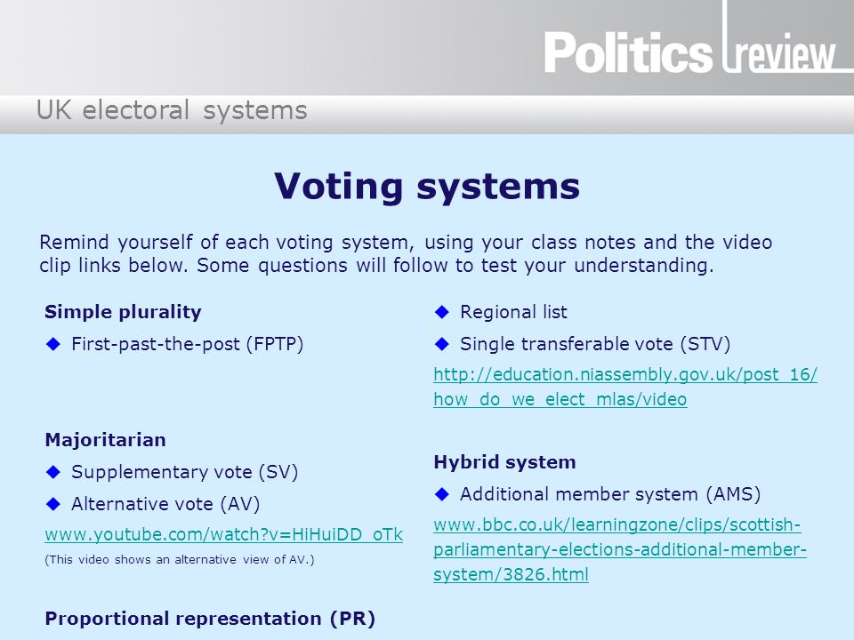 UK electoral systems Voting systems Simple plurality  First-past-the-post (FPTP) Majoritarian  Supplementary vote (SV)  Alternative vote (AV) www.y