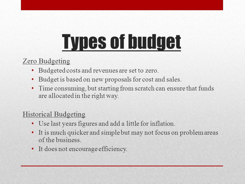 Types of budget Zero Budgeting Budgeted costs and revenues are set to zero.