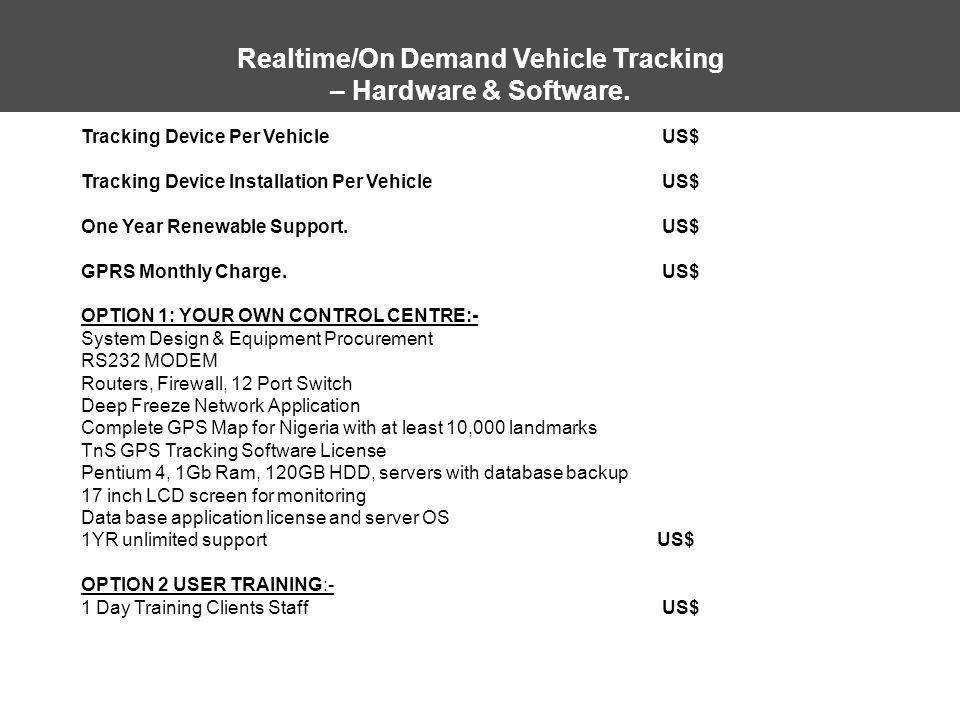 Realtime/On Demand Vehicle Tracking – Hardware & Software. Tracking Device Per Vehicle US$ Tracking Device Installation Per Vehicle US$ One Year Renew