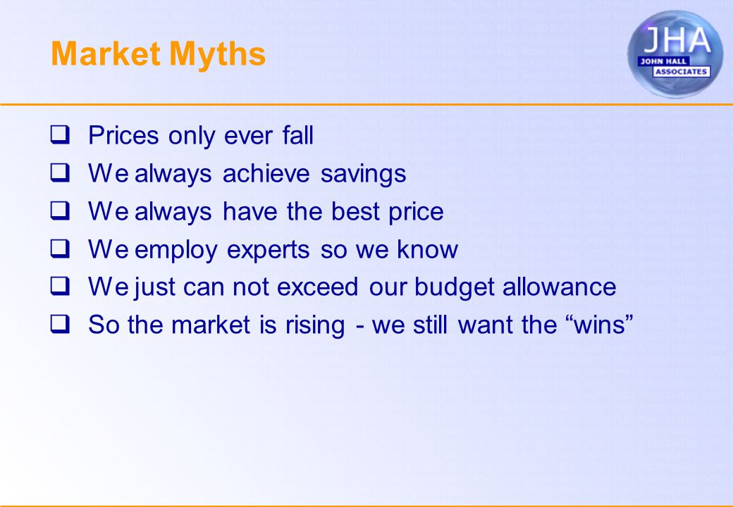 Market Myths  Prices only ever fall  We always achieve savings  We always have the best price  We employ experts so we know  We just can not exceed our budget allowance  So the market is rising - we still want the wins