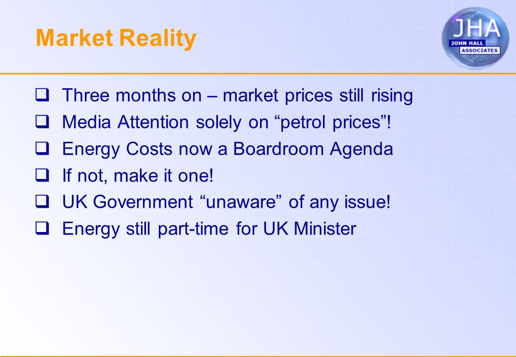 Market Reality  Three months on – market prices still rising  Media Attention solely on petrol prices .