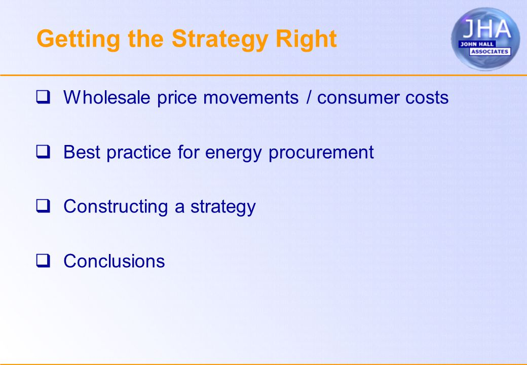 Getting the Strategy Right  Wholesale price movements / consumer costs  Best practice for energy procurement  Constructing a strategy  Conclusions