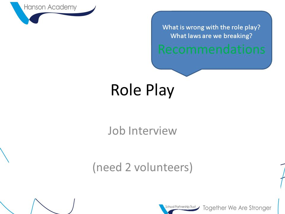 Role Play Job Interview (need 2 volunteers) What is wrong with the role play.