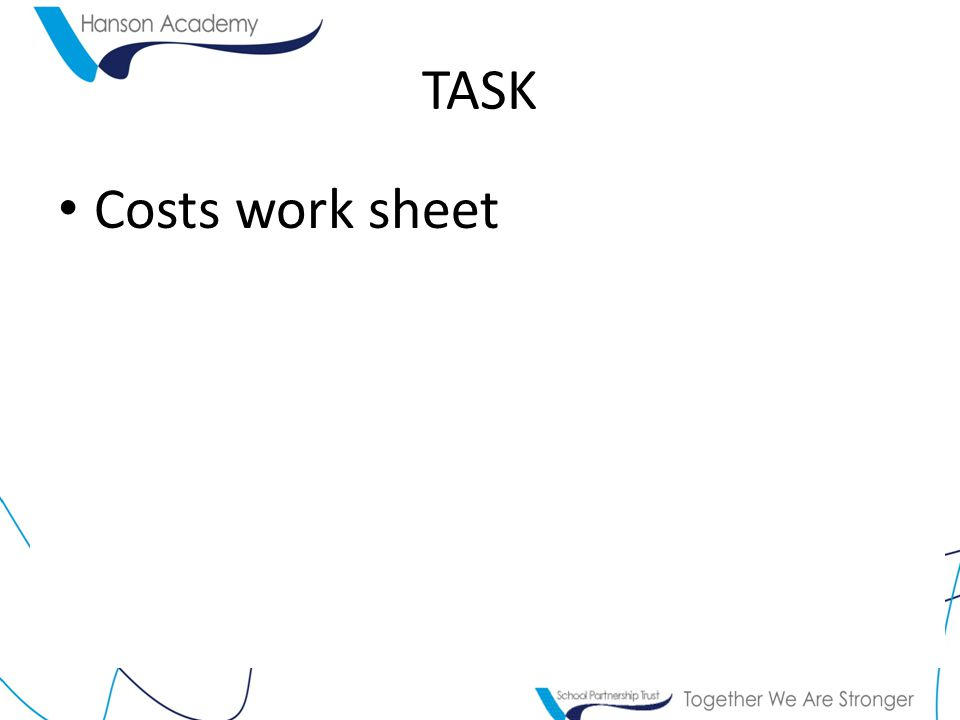 TASK Costs work sheet