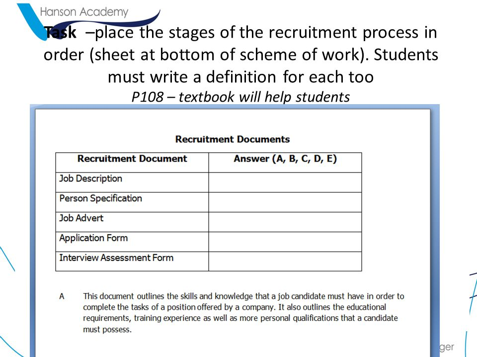 Task –place the stages of the recruitment process in order (sheet at bottom of scheme of work).
