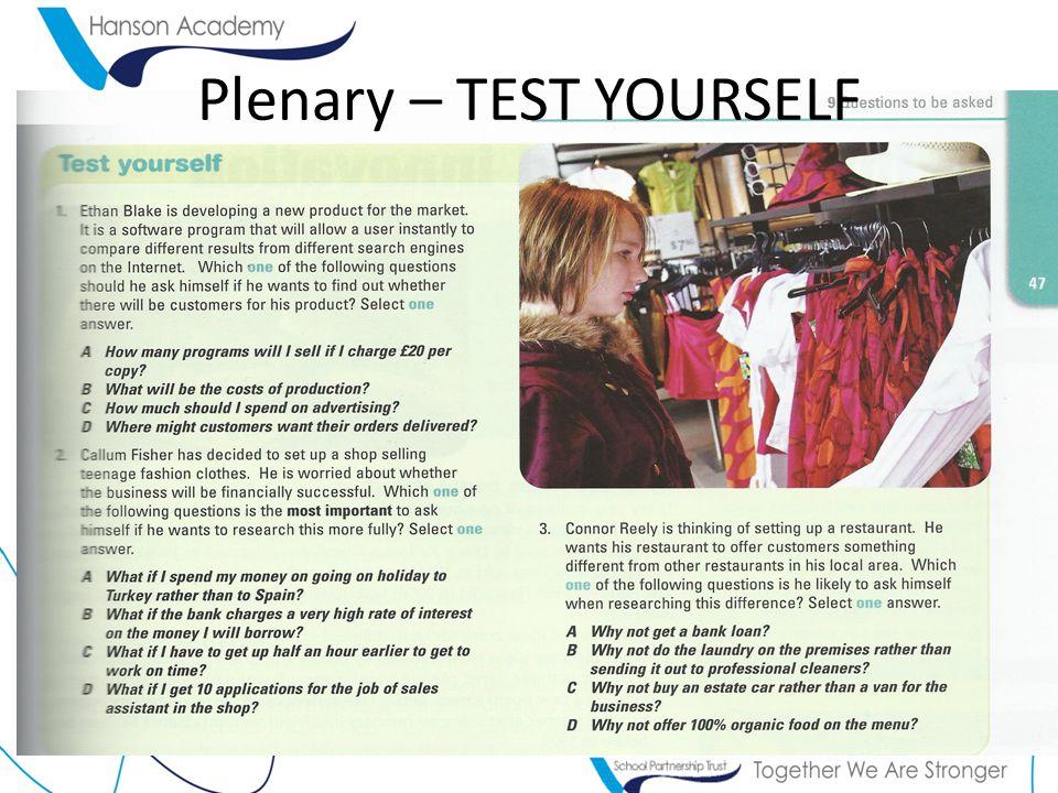 Plenary – TEST YOURSELF